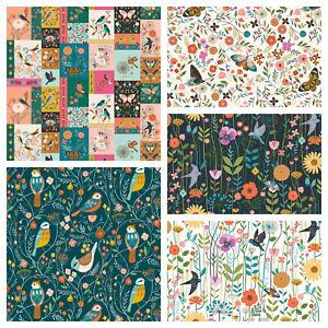 AVIARY - Dashwood Studios 100% cotton fabric - Birds, butterflies, floral