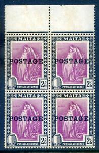 Malta 1926 Postage Overprint 2s6d an unmounted mint block 4 (2019/06/17#05)