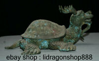 """13 """"antiquité Bronze Chinois Ware Feng Shui Tortue Dragon Tortue Animal Statue"""