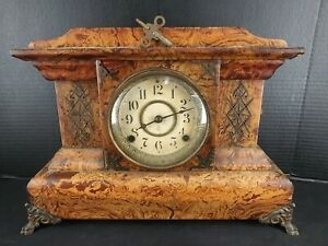 Antique Seth Thomas Mantle Clock,  Faux Marble. Needs Service / Cosmetic Repair