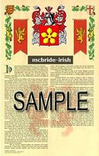 MCBRIDE Armorial Name History - Coat of Arms - Family Crest GIFT! 11x17