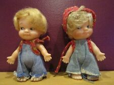 1960s Uneeda Doll company Pee Wees set of 2 country bumpkin twins