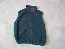 VINTAGE Columbia Fleece Vest Adult Large Green Purple Full Zip Made In USA Mens