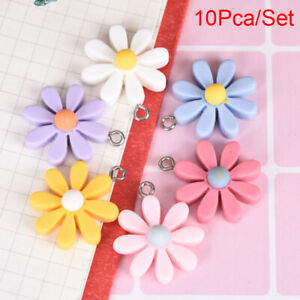10Pcs/Set Resin Little Daisy Sun Flower Charms Pendant Jewelry Making DIY C DOL