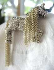 Heidi Daus Signed pin brooch horse with flow chain mane purple eye crystal