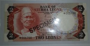 """1978 SIERRA LEONE 2 Leones """"SPECIMEN"""" UNC [P-CS1] *001700"""