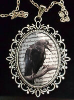 Edgar Allan Poe The Raven Large Antique Silver Pendant Necklace Goth Victoriana