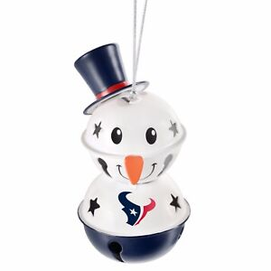 Houston Texans 2 Tier Snowman Bell Ornament Christmas Tree Holiday NEW