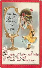 Dwig Girl~Lady at Vanity Table Mirror~Go To The Glass~Candlestick~Gold Emboss