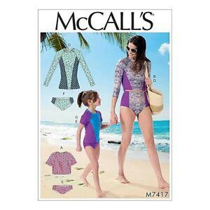 McCalls Rashie Sewing Pattern 7492 (3-8 Girls)(S-XL Adult) Swimwear Bikini Brief