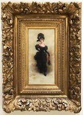 "Emile Eisman Semenowsky,""Elegant Woman Strolling on Parisian Boulevard"" Antique"