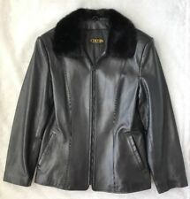 CHOSEN Couture Collection Mink Fur Collar Leather Zip Jacket Small