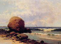 Wonderful Oil painting seascape by beach with ocean waves huge rocks on canvas
