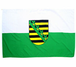 Fahne Sachsen mit Wappen Hissflagge Querformat 90x150 cm BRD Bundesland