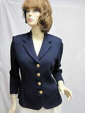 St John Knit BASICS Black  Princess LOGO Button JACKET SIZE 8
