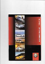 ALFA ROMEO 147,156/156 SPORTWAGON,166,GTV & SPIDER  PRICE LIST BROCHURE FEB.2001