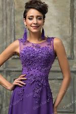 Grace Karin Long Wedding Ball Evening Formal Party Prom Bridesmaid Maxi Dresses Purple 16 UK ZIPPER
