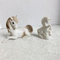 Vintage Unicorn Figurines 1980s Porcelain Taiwan Aldon Lot of 2