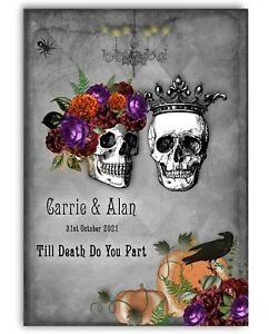Personalised Skulls Halloween Wedding Card