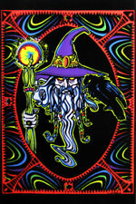 Wizard Mystical Whiz Crow Staff Hat Psychedelic Retro Blacklight Poster 23x35