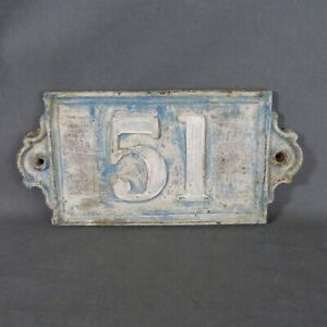 Old Large & Heavy French House Number 51 Door Wall Plate Plaque Cast Iron Sign