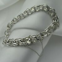 1974 Vintage Fancy Link Chain Bracelet in Solid Plain 925 Sterling Silver