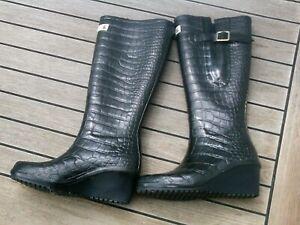 Damen Gummistiefel GR. 37 (UK 4) schwarz wie neu  Wedge Welly Höhe 42 cm