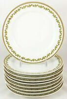 FAB SET 9 BREAD PLATES HAVILAND LIMOGES FRANCE SONDERBURG GREEN CLOVER RED GOLD