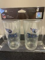Tennessee Titans Satin Etch Pint Glass Set of 2 NFL 16 Oz. Glasses BRAND NEW