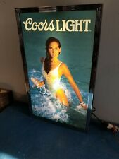 (VTG) 1991 Coors light beer sexy girl & Mexico swim suit & water man cave new