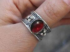 Large Adjustable Tibetan Oval Garnet Gemstone Weaving Dotted Amulet Ring