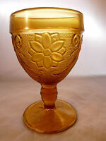"Vintage Tiara Indiana Glass Amber Water Goblet 5 1/4"" Sandwich Pattern"
