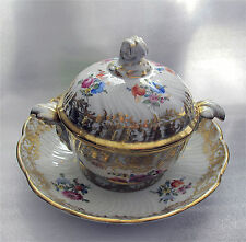 DRESDEN MEISSEN PORCELAIN BOWL TUREEN WITH LID HAND PAINTED HEAVY GILDING
