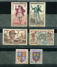 FRANCE 1953 - Numéro Y&T 942 - 943 - 955 - 957 à 959 Oblitérés - 6 timbres