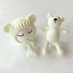 Newborn Baby 1 Set Hat+Bear Toy Girl Boy Crochet Knit Costume Photography Props