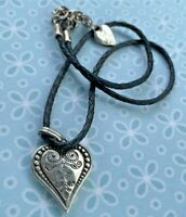 """Brighton FRENCH QUARTER OPHELIA Etched Heart Black Thick Leather Necklace 17"""""""