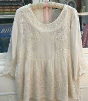 JOHNNY WAS Floral Embroidered Rayon Blouse Ivory size Small
