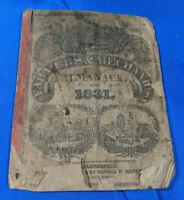 1831 Farmers & Mechanics Almanac Philadelphia George W Mentz