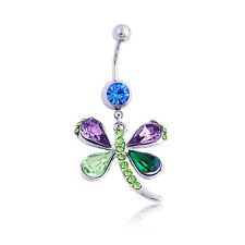 New Colorful Rhinestone Dragonfly Body Piercing Navel Belly Button Ring Bar