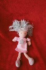 Doudou Kaloo Poupée Attache Tétine Rose Robe Cheveu Laine Bleu 19 cm