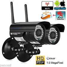 2X 720P HD IP Kamera WLAN Wireless Netzwerk WIFI ONVIF Nachtsicht Outdoor Camera