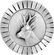 Hirsch Bock Reh Kühlergrill Relief Metall Plakette Medaille Halter Schrauben