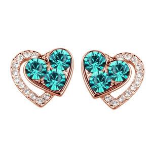 Valentines Day  18K Rose Gold Over Crystal Elegant Turquoise Heart Earringss