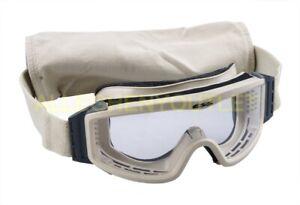 US Military ESS Profile NVG Ballistic Goggles Desert Tan Clear USGI Eye Ware GC