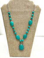 """Vintage New Old Stock Karis Necklace Pendant Turquoise & Silver Tone Beaded 30"""""""
