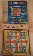 1956 Vintage India Puss in the Corner Johnny Jumps Railroad Game Milton Bradley