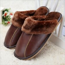 New Winter Men's Women Leather Warm Indoor Slippers Home House Anti-slip Shoes