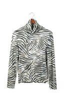 Airfield Size Medium Brown Black Turtleneck Zebra Stripe Pullover Shirt Top