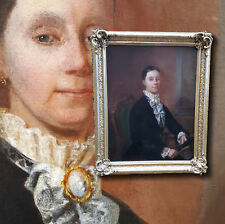 Sehr stilvolles Biedermeier Damenportrait. Antikes XL Ölgemälde im Prunkrahmen