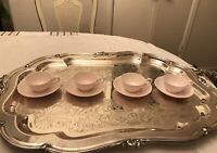 Tuscan Fine English Bone China Demitasse Cup & Saucer-England - Solid Pink Set 4